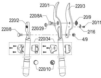 FELCO 220 Aluminum Lopper 80 cm (31.5 in.) By-Pass Cutting Head